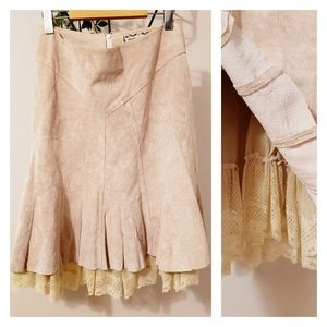 ARTISAN SUEDE BOHO LACE A-LINE SKIRT LACE